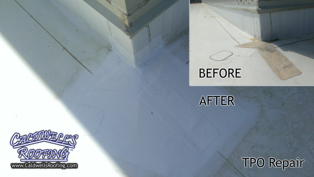 Before/After of TPO Corner - Single Ply Roof Repairs