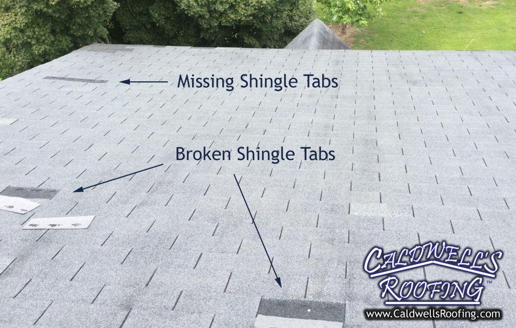 Wind Damage to a Roof Can Appear As Missing Or Broken Shingle Tabs