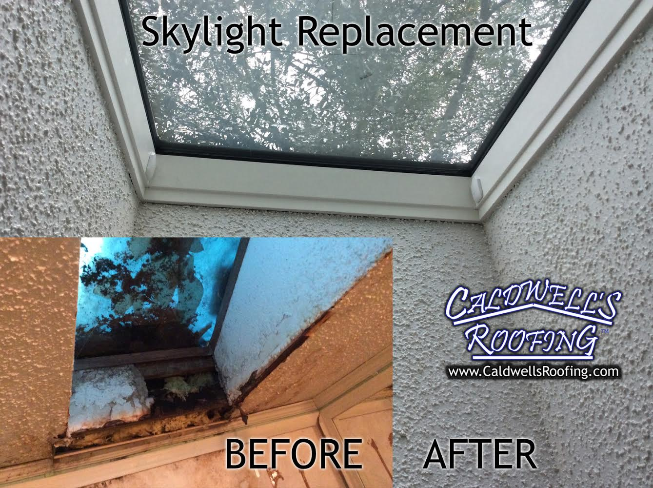 Before/After Picture of Skylight Replacement
