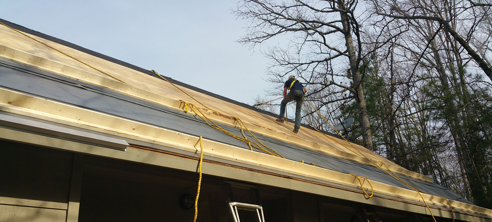 "Installing 1/2"" CDX Plywood and GAF StormGuard Underlayment in Preparation for Metal Roofing"