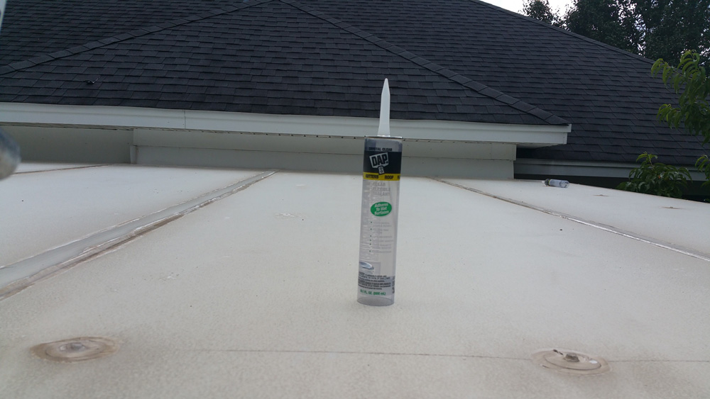 After Pressure-Washing the Roof, Caulk Was Re-Applied to Loose Areas