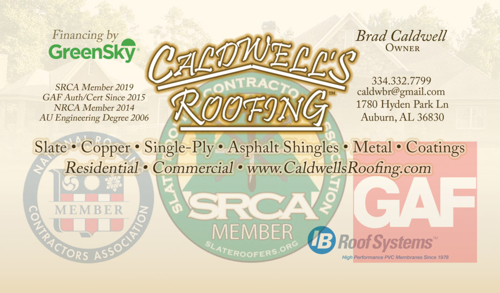 Caldwells Roofing Business Card